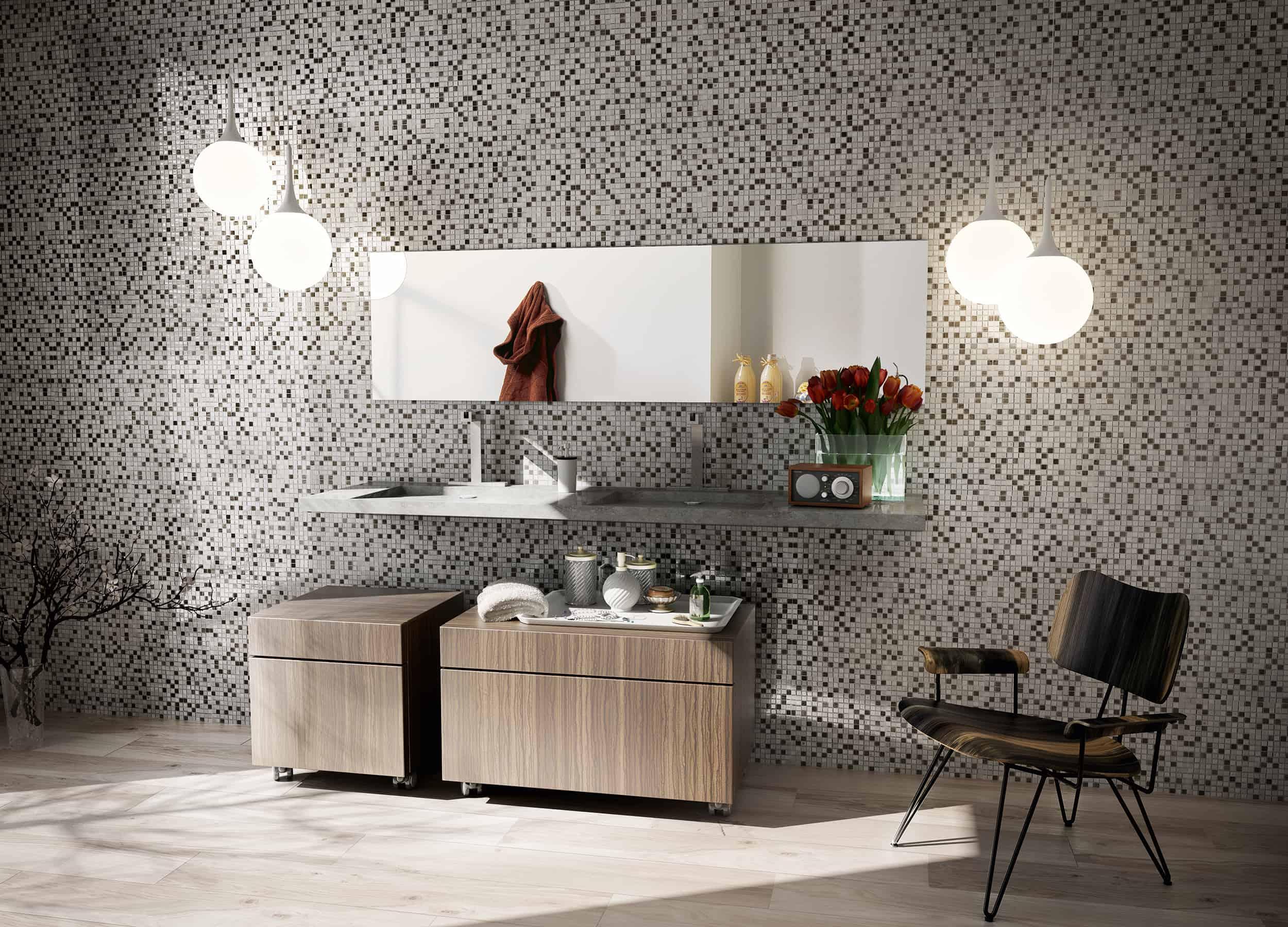 Mosaico serie karma pavimenti e rivestimenti musis - Mosaico grigio bagno ...