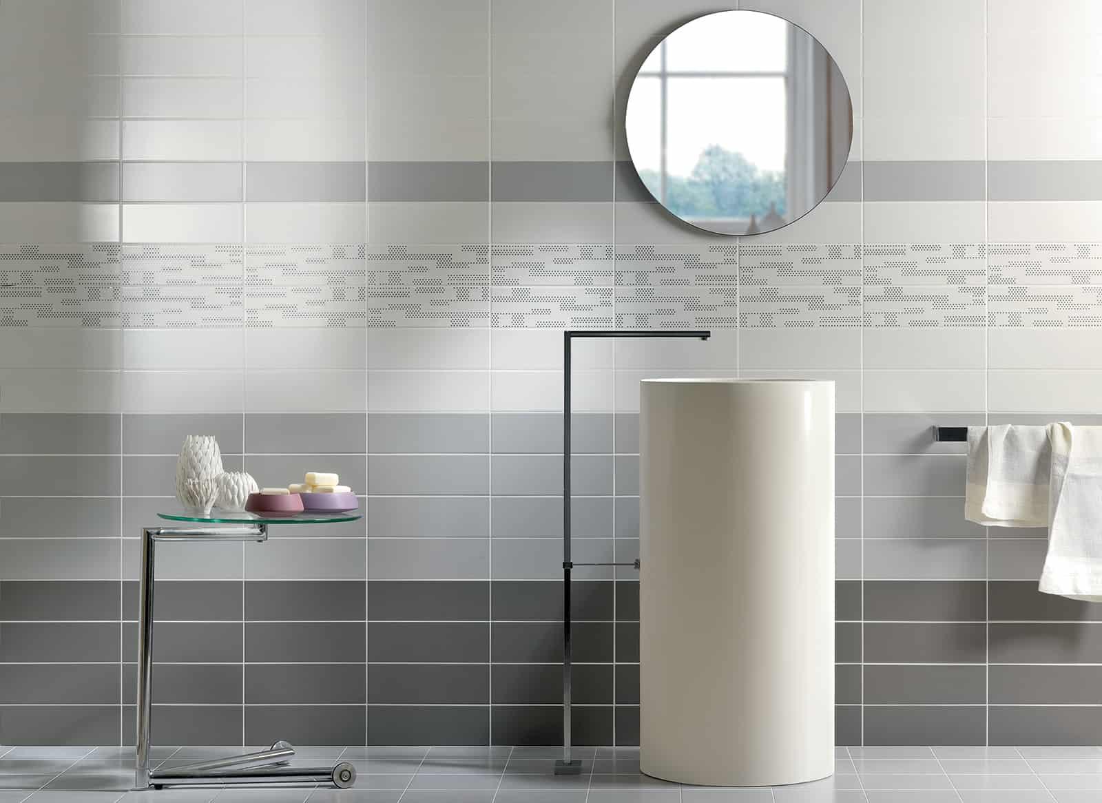 Tiffany rivestimento bagno grigio cemento wall musis ceramica for Bagno moderno grigio