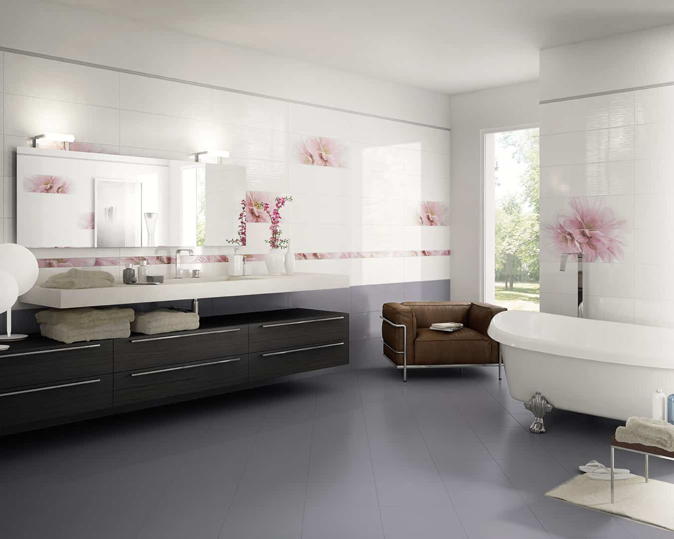 Tresor rivestimento bagno grigio wall musis ceramica - Rivestimento bagno grigio ...