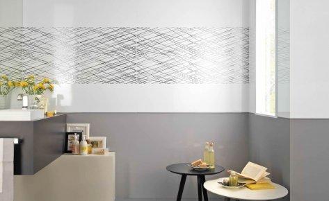 Serie design rivestimenti musis - Bagno grigio e bianco ...